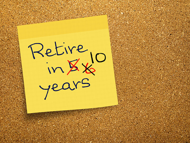 A graphic depicting a post-it note with a message about retiring
